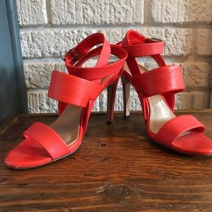 Strappy Coral Leather BCBG Heels